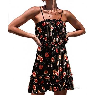 Lantch Damen Sommerkleid Kurz Kleider Knielang Leicht Blumen Minikleid
