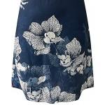 Sommerkleid Damen Knielang Luftige Kurzarm V-Ausschnitt Drucken Blusenkleid Strandkleid Freizeitkleider