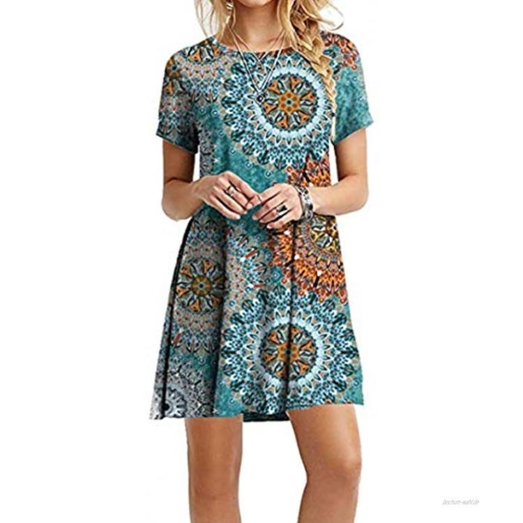 Yming Frauen Blumenkeid T-Shirt Kleid Casual Sommerkleid Kurzarm Kleid