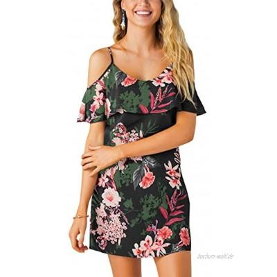 YOINS Sommerkleid Damen Sexy Tshirt Kleid Schulterfrei Tunika Kurzarm MiniKleid Strandkleid Blumenmuster