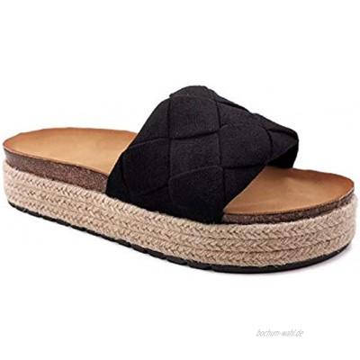 Angkorly Damen Schuhe Schuh-Mule Sandalen Strand Böhmen Kasual Seil Geflochten Kork Flache 4 cm